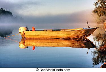 en, båd, ind, mist
