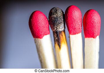 en, bränt, matchsticks, ute