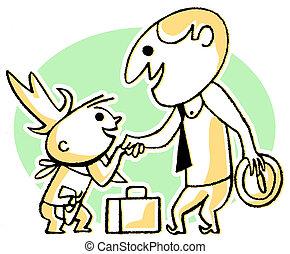 en, cartoon, firmanavnet, affattelseen, i, en, branche mand, hils, en, lille barn