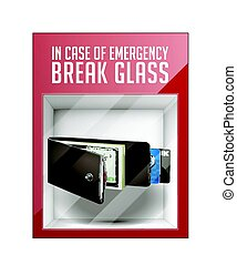 en caso de emergencia, interrupción, vidrio, -, billetera, concepto