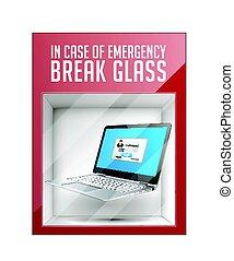 en caso de emergencia, interrupción, vidrio, -, latop, concepto