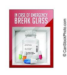en caso de emergencia, interrupción, vidrio, -, píldoras, concepto