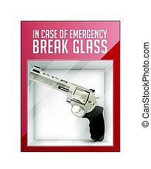 en caso de emergencia, interrupción, vidrio, -, revólver, concepto