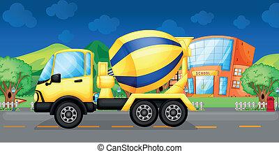 en, cement lastbil, løb, ind, den, gade