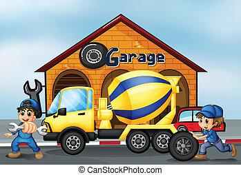 en, cement lastbil, uden for, den, garage