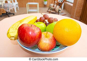 en, cerca, plato, de, onu, frutas