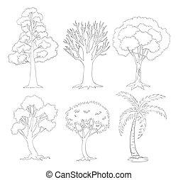 en, doodle, sæt, i, træer