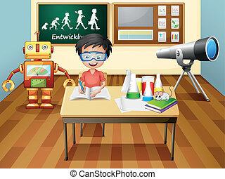 en, dreng, inderside, en, videnskab, laboratorium
