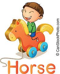 en, dreng, på, en, legetøj hest