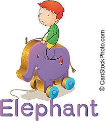 en, dreng, på, en, stykke legetøj, elefant