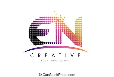 EN E N Letter Logo Design with Magenta Dots and Swoosh - EN...
