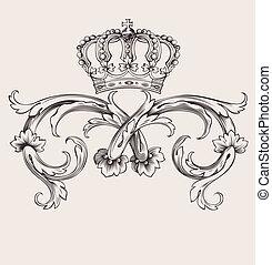 en, färg, kunglig krona, årgång, buktar, baner