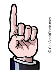 en, finger, uppe