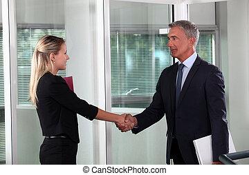 en, firma, håndslag