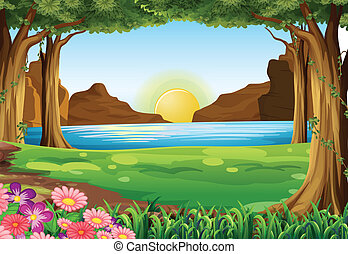 en, flod, hos, den, skov