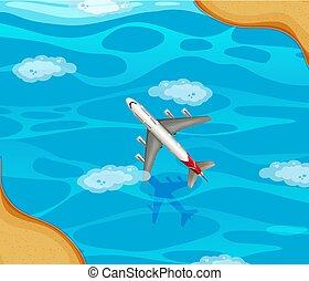 en, flyvemaskine, flyve hen, den, havet