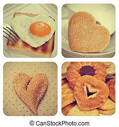 en forma de corazón, alimento, collage