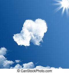 en forma de corazón, nubes, dos