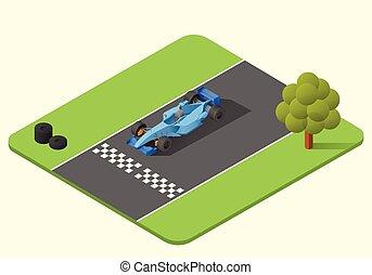 en, formel, kapplöpning bil