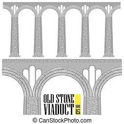 en, forntida, hög, sten, viaduct., constructed, av, sten, och, tegelstenar, a, jättestor, bridge., plan, den, minst, detaljerna, ar, visible.