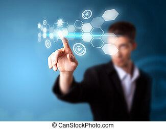 en, forretningsmand, arbejde på, moderne teknologi