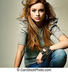 en, fotografi, i, smukke, pige, er, ind, mode, firmanavnet,...