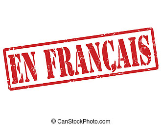 Stylized red stamp showing the term en francais on white, vector illustration