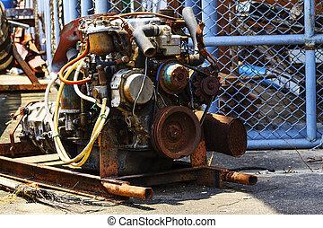 en, gammal motor, in, reparera, garage.