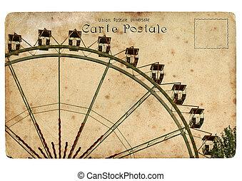 en, gammal, vykort, med, a, ferris, wheel.