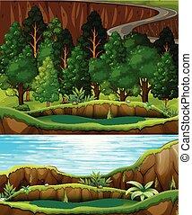 en, grønnes skov, og, flod landskab
