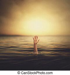 en, hånd, komme til vandet