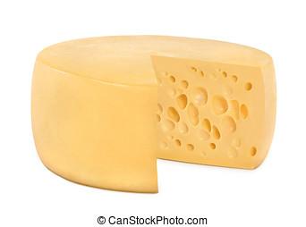 en, hjul, runda, ost