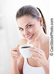 en, holdning, kvinde, hos, kaffe