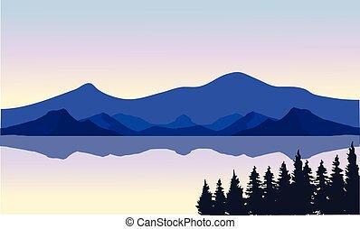 en, illustration, i, en, flod, og, bjerge
