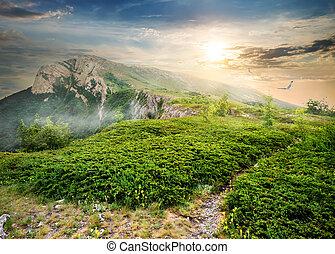 en, in, mountains