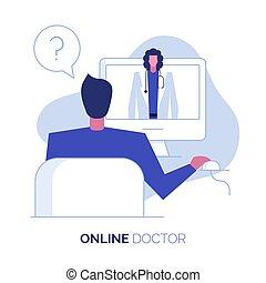 en línea, 2, doctor, ilustración
