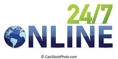 en línea, 24, 7