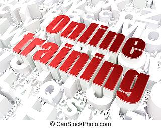 en línea, concept:, plano de fondo, entrenamiento, alfabeto...