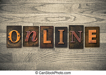 en línea, concepto, de madera, texto impreso, tipo