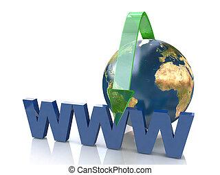 en línea, concepto, por, verde, flecha, dirección internet