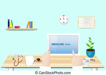 en línea, concepto, vector, medicina