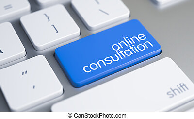 en línea, consulta, -, mensaje, en, azul, teclado, keypad., 3d.