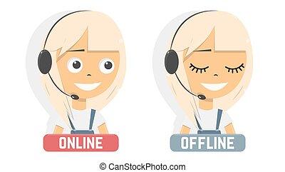 en línea, consultant., aconseja, client., ayuda al cliente, service.