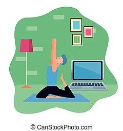en línea, cuarentena, practicar, hombre del yoga, joven