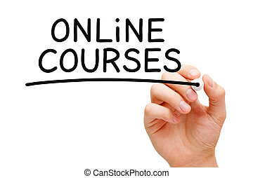 en línea, cursos, manuscrito, con, negro, marcador