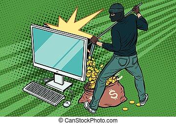 en línea, dólar, dinero, pirata informático, steals, computadora