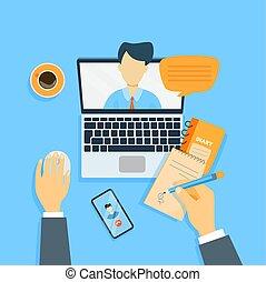 en línea, empresa / negocio, meeting.