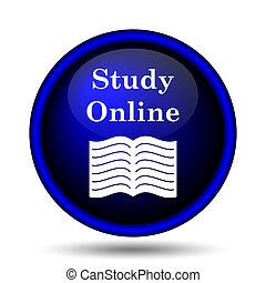 en línea, estudio, icono