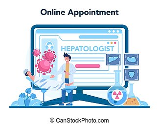 en línea, hígado, servicio, platform., doctor, marca, hepatologist, o