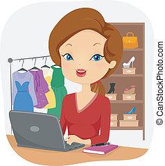 en línea, hembra, vendedor